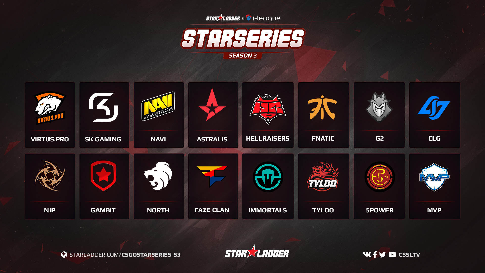 SL i-League CS:GO StarSeries S3 All teams
