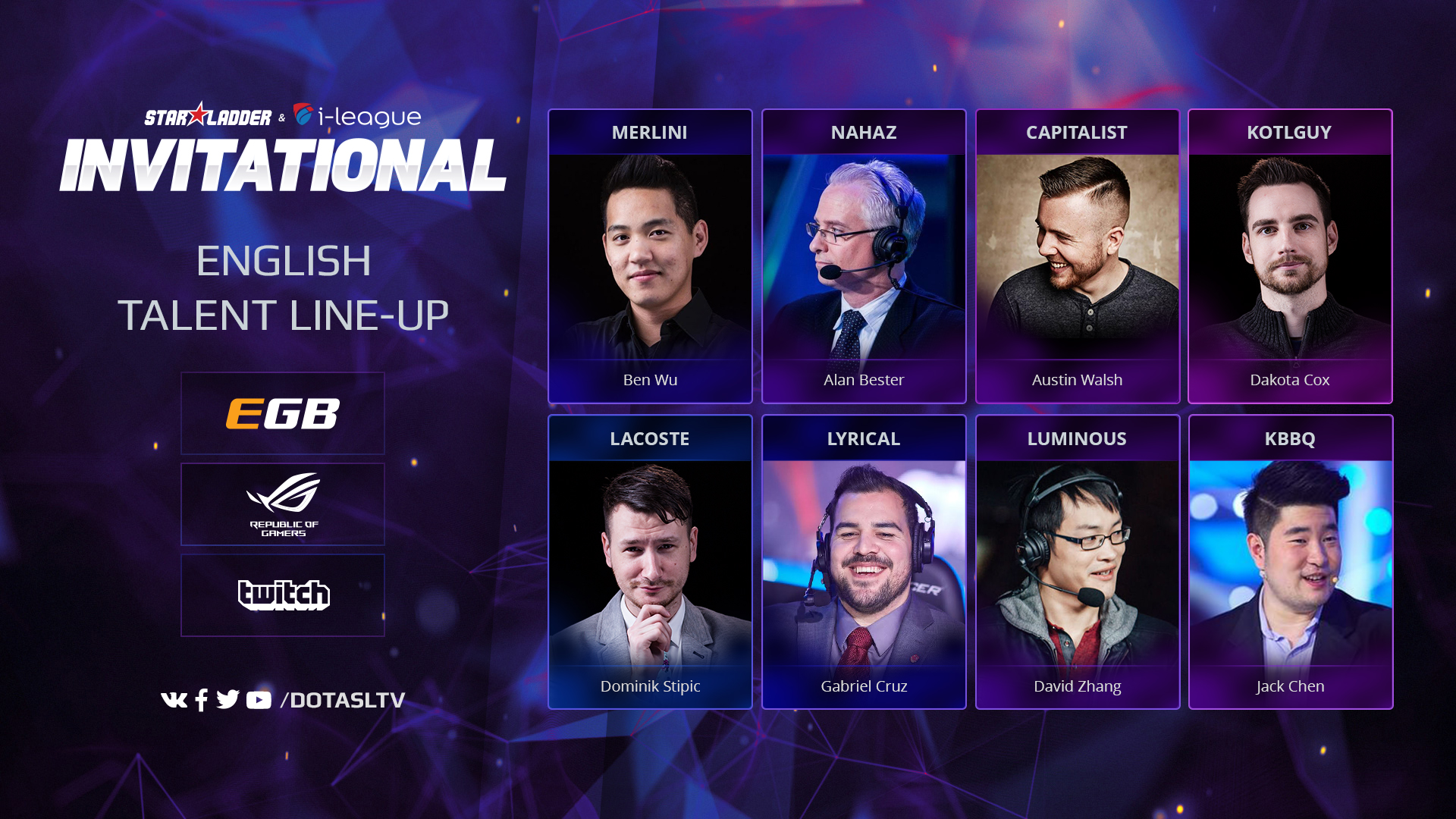 English talents lineup Dota 2 Initational S2