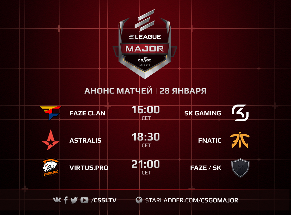 ELEAGUE Major schedule January 28