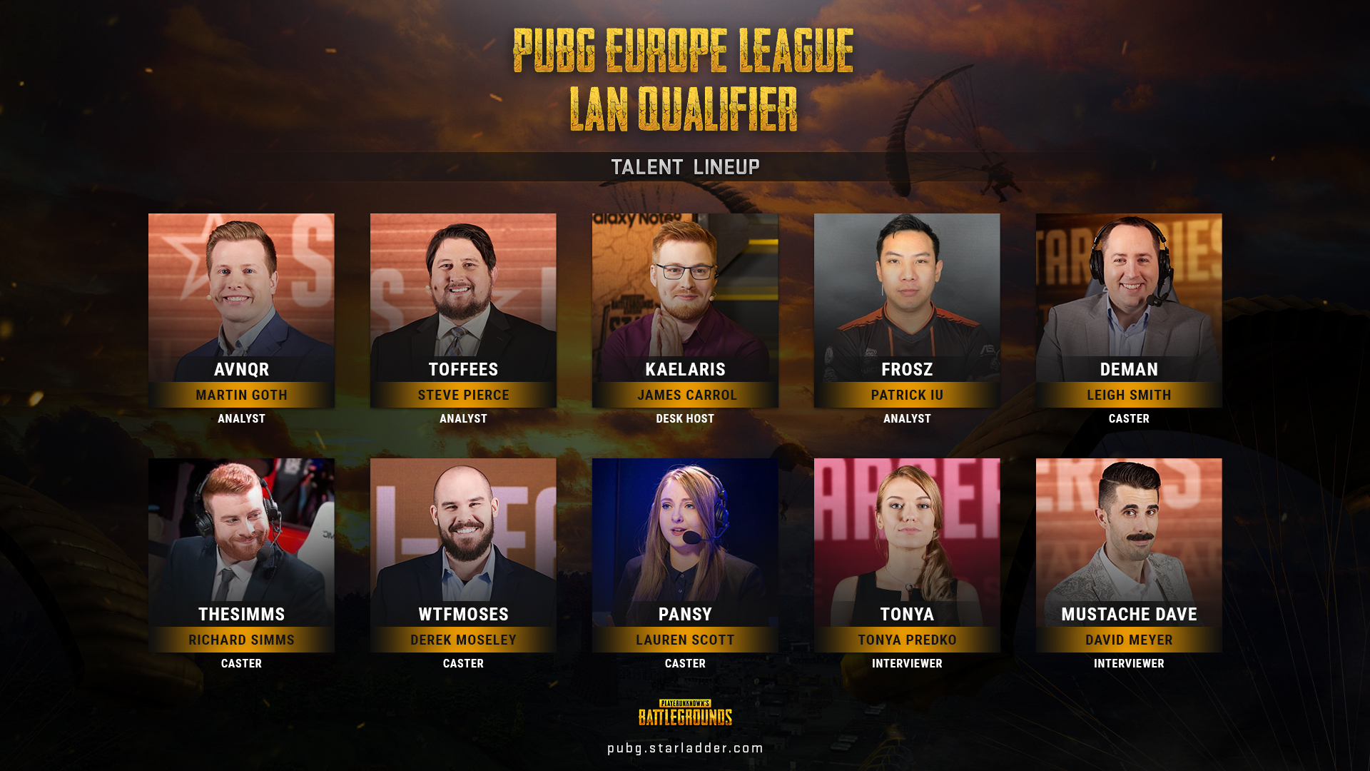 PUBG Europe League Talent Lineup English Broadcast