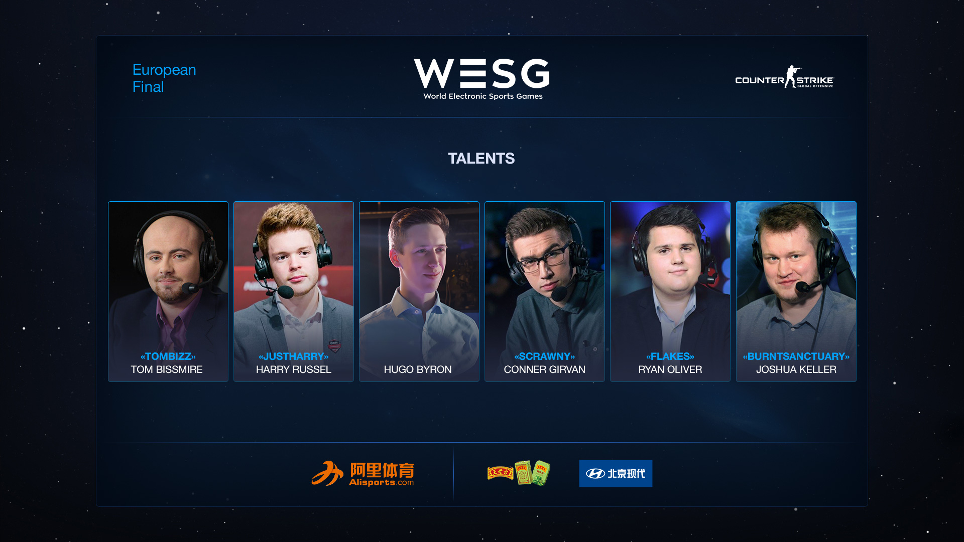 Talent-list for WESG CS:GO EU Finals