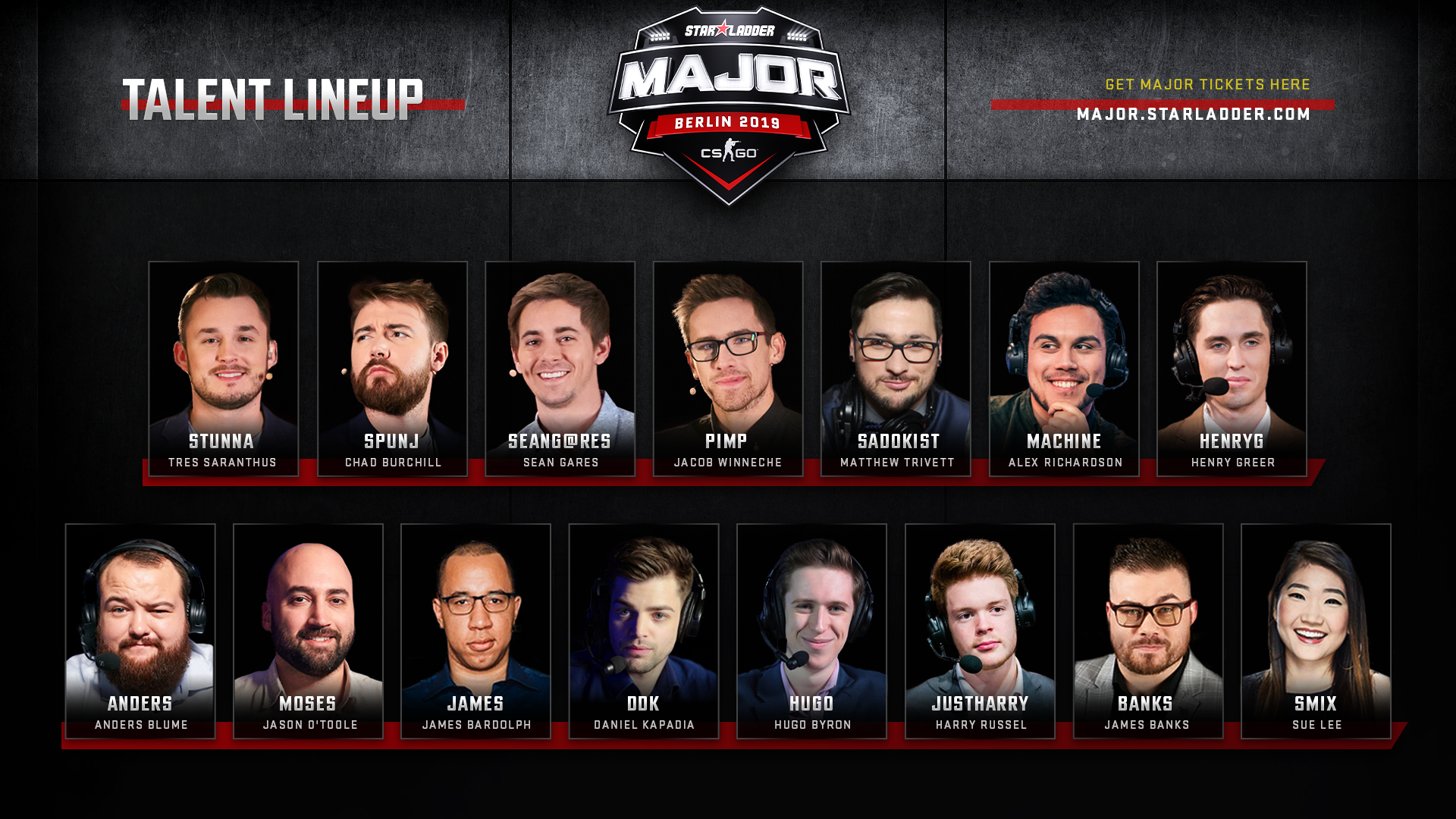 Welcome the talent group for StarLadder Major Berlin 2019!